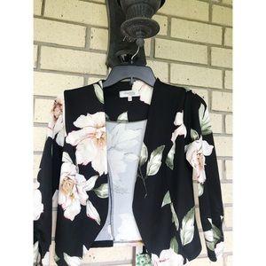 Charlotte Russe Floral Crop Blazer